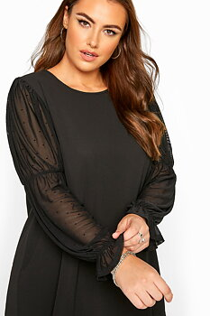 Tunika med prickig meshärm, svart