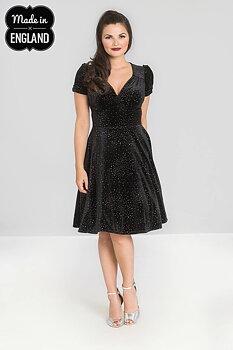 Klänning i sammet med silverprickar, svart
