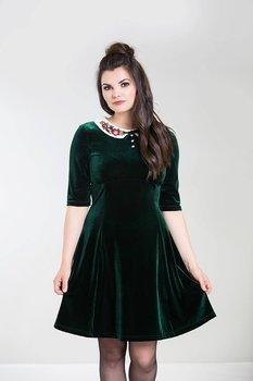 Klänning i sammet med krage, grön