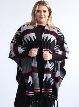 Poncho i aztecmönster, grå