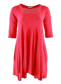 Klänning med fyrkantig ringning, röd