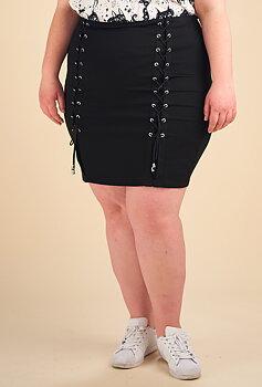 Kjol med snörning, svart