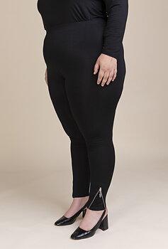 Leggings med dragkedja/spets, svart
