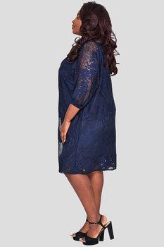 Klänning i v-ringning med spets, marinblå