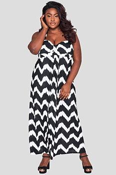 Långklänning med drapering, svartvit