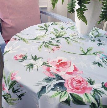 BOTANICA Ljusblå. Avtorkningsbar metervara.  Rosa blommor, gröna och vita blad på ljusblå botten.