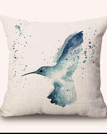 Kuddfodral En  Fågel Blå  Sand