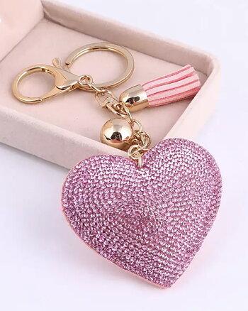 Nyckelring Love by heart Rosa