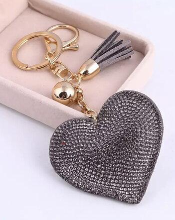 Nyckelring Love by heart Grå
