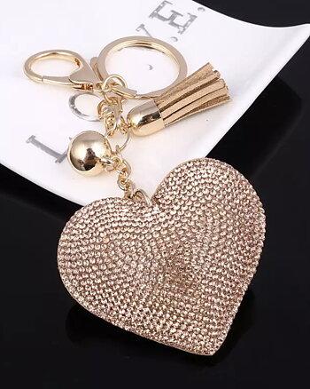 Nyckelring Love by heart Guld
