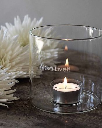 Candle lantern Love life Clear glass Maja Cottage