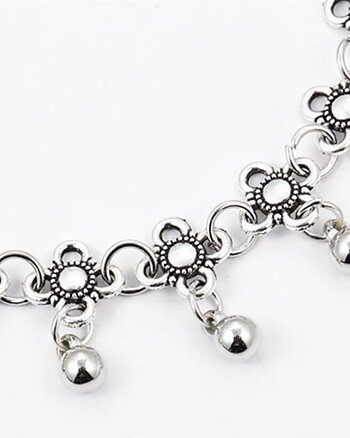 Fotlänk Flower Indien style silver