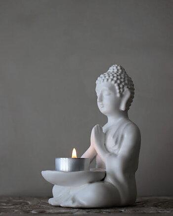 Ljushållare Buddha Vit