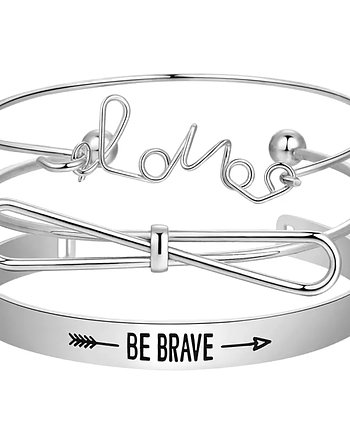 Armbands set Brave and Love Silver
