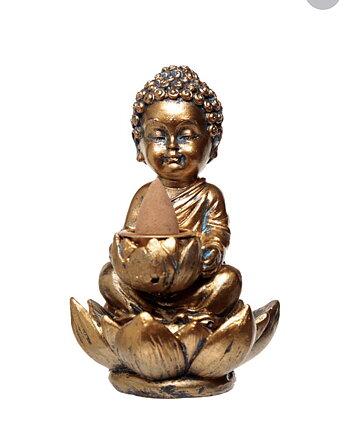 Rökelsebrännare Buddha Lotus Backflow guld