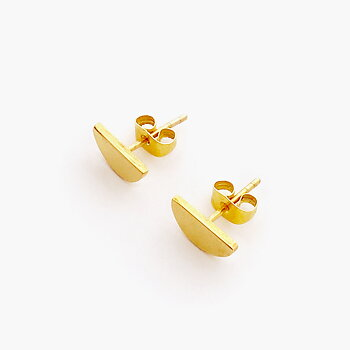 Di Lunedi Gold Half Moon Stud Earrings