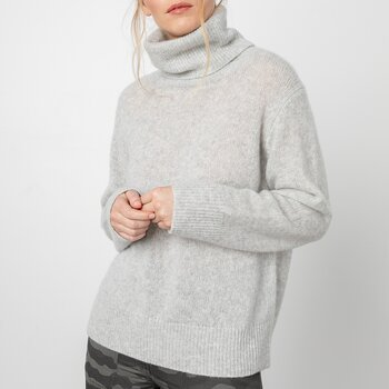 RAILS Imogen Cashmere and Silk Turtleneck Sweater - Mist