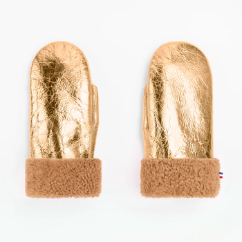 TOASTIES Sheepskin Mittens - Metallic Gold