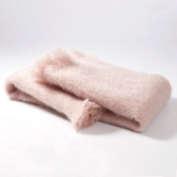 MANTAS EZCARAY Lisos Powder Pink Mohair and Wool-Blend Throw
