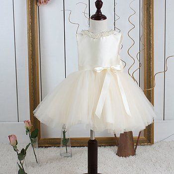 Champagne princess dress in tulle Twill