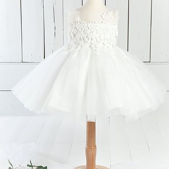Ivory tulle dress with broidery