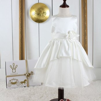 Ivory satin dress with flower