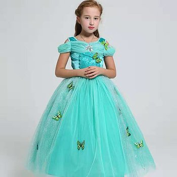 Green fairytail dress with butterflies