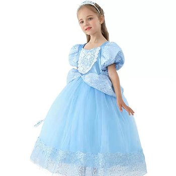Blue fairytail dress with puffy sholder