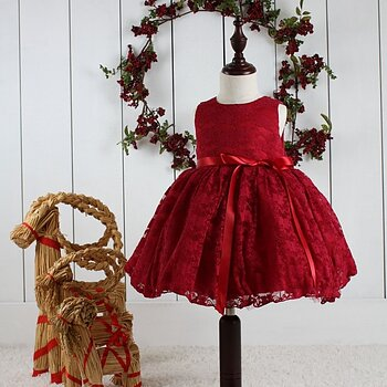 Wine red Princess dress lace with bow