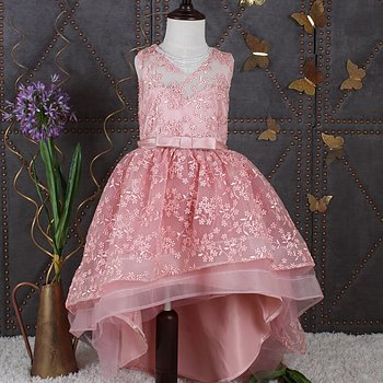 Pink embroidered dress Highandlow
