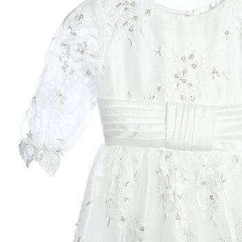 Baptism dress with lace and stones