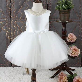 Ivory princess dress in tulle Twill