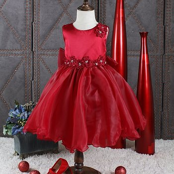 Wine red princess dress in organza with flowers