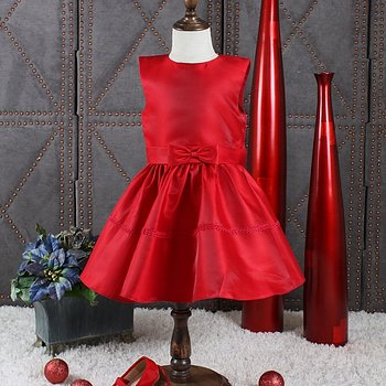 Red princess dress in satin with bow