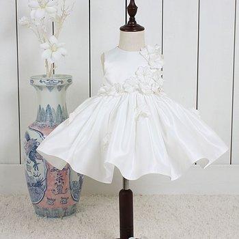 Ivory Prinsessklänning i satin med blommor