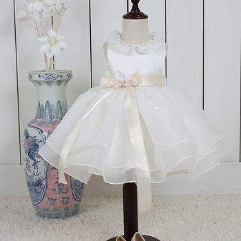 Ivory Princess dress in organza with pearl decorated collar