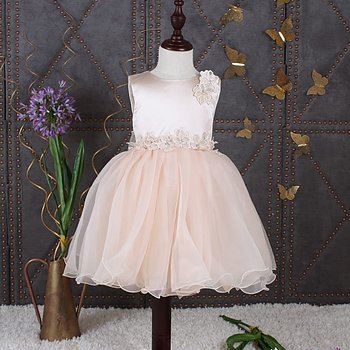 Champagne princess dress in organza with flowers
