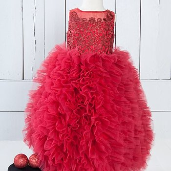 Red fluffy dress