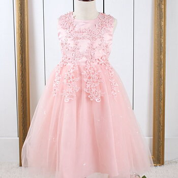 Pink princess dress in tulle with pearls and embroidery long