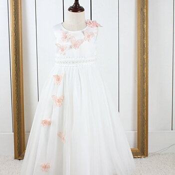 Ivory princess dress in tulle with butterflies long
