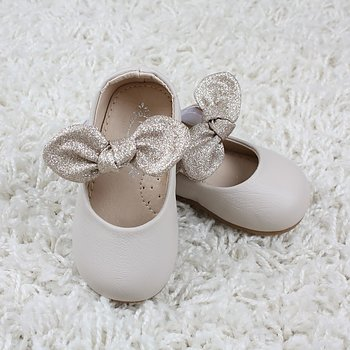 Ivory grey shoes with golden bow baby and barn