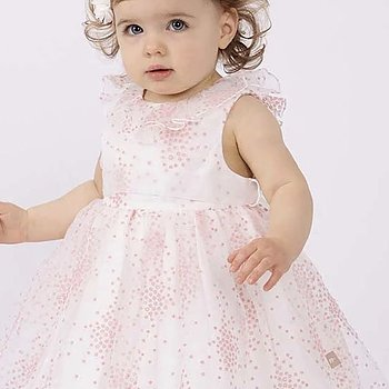 Dress in organza with pink small flowers