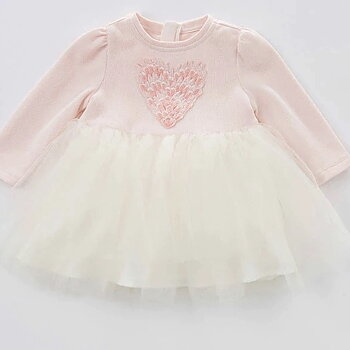 Long sleeved tulle dress with heart pink