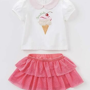 Skirt and top set with ice cream