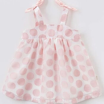 Pink dotted dress with bows