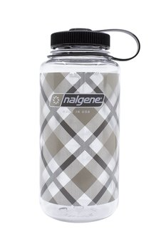 Nalgene - Vattenflaska Gray Beige Plaid Wide Mouth 1 Liter