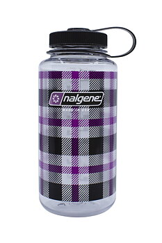 Nalgene - Vattenflaska Purple Plaid Wide Mouth 1 Liter