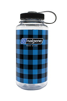 Nalgene - Vattenflaska Blue Plaid Wide Mouth 1 Liter