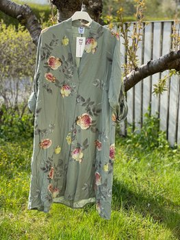 Tunica Viscose Blommig Grön