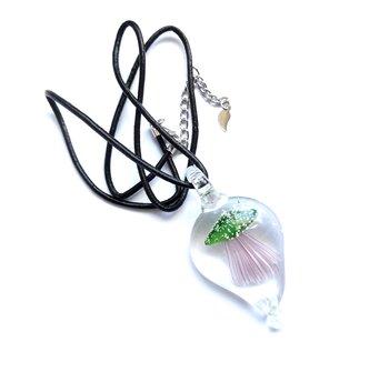 Halsband med hänge av glas